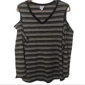 Black and Gray Striped Cold Shoulder Sweater 2X